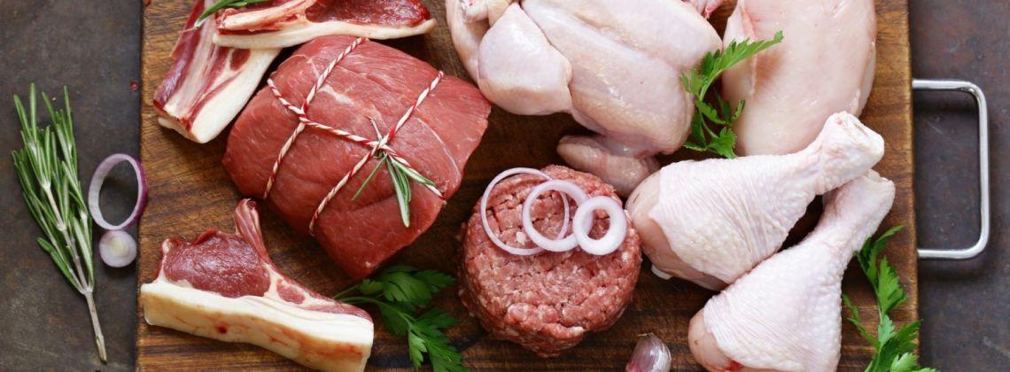 Rodzaje mięs: wołowego, wieprzowego i drobiu