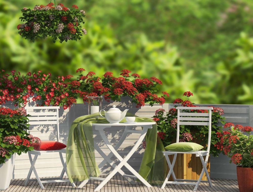 balkon z czerwonymi kwiatami i białymi meblami