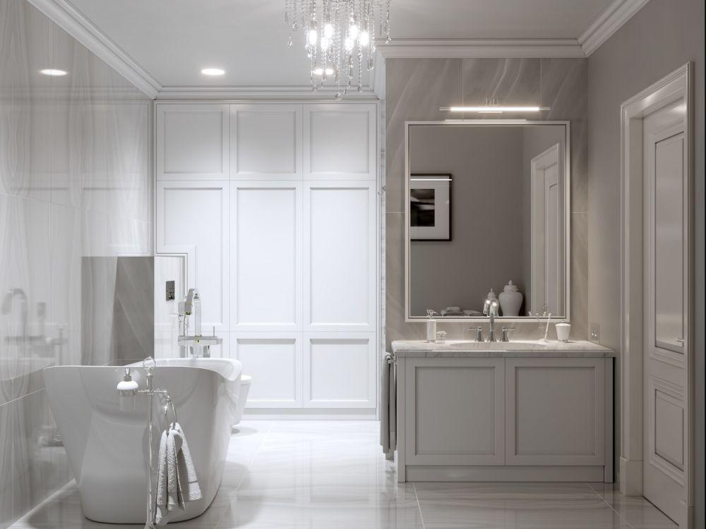 elegancka biała łazienka z żyrandolem