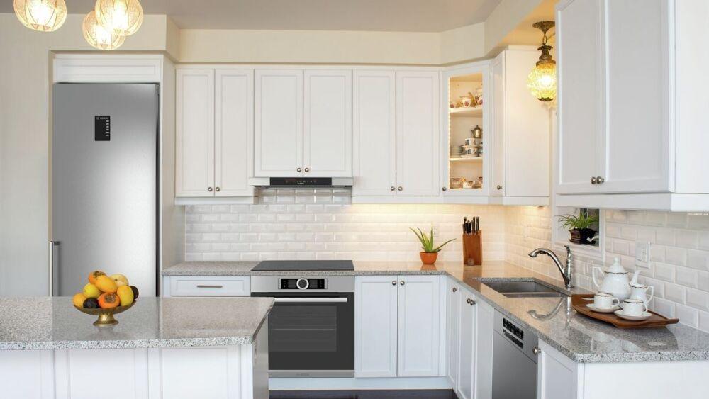kompozytowe blaty kuchenne, biała kuchnia, Bosch agd