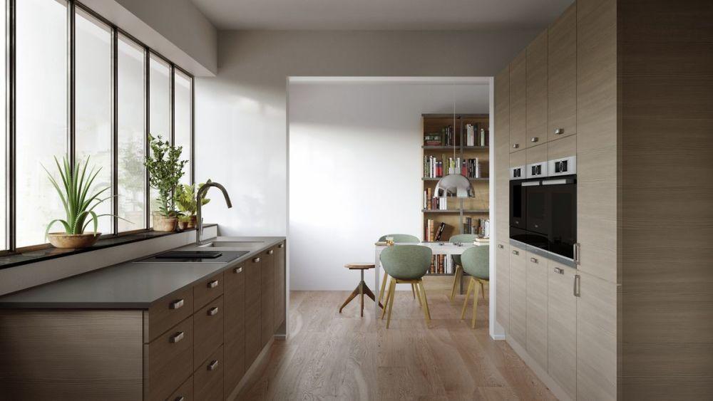 jasne panele w drewnianej kuchni