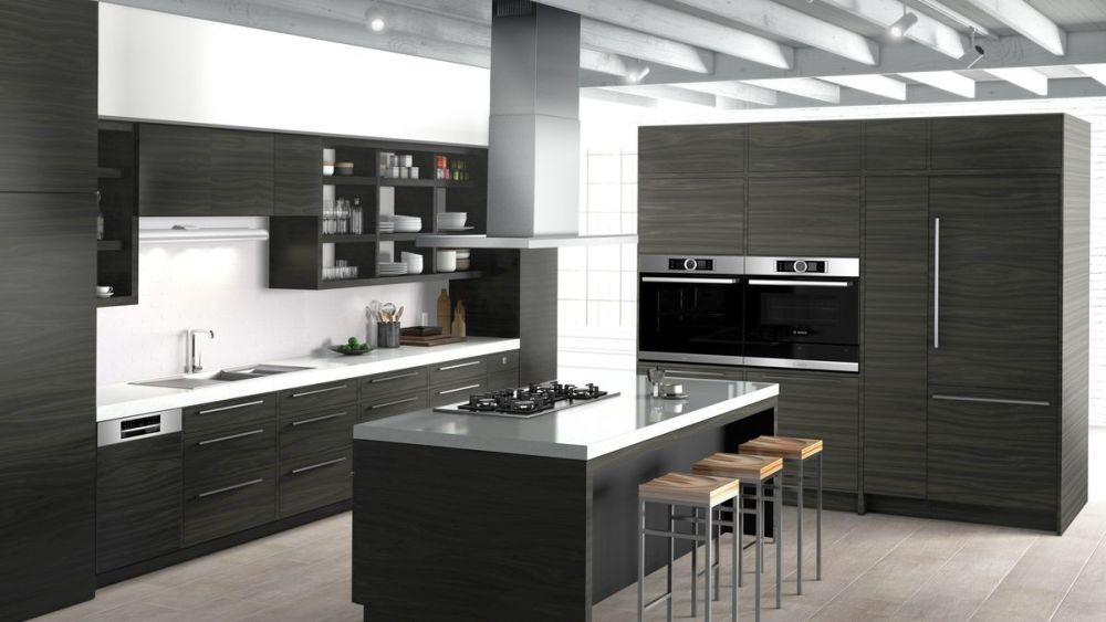 czarne meble i białe ściany w kuchni