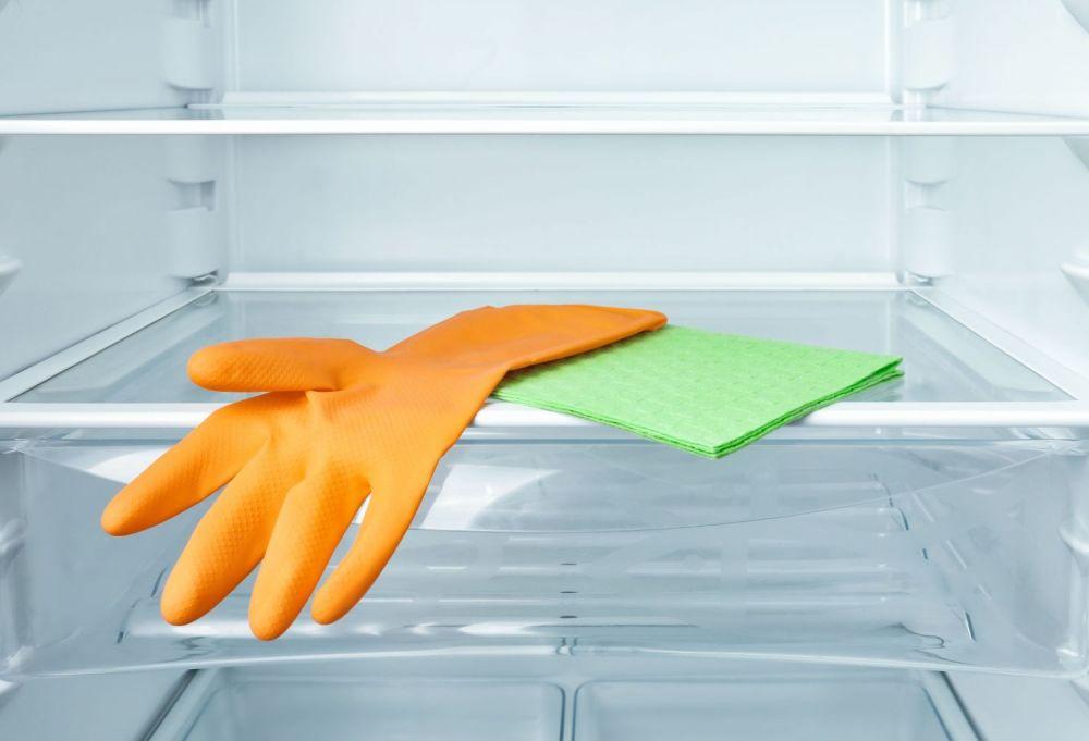rękawiczka, ścierka, lodówka, sprzątanie