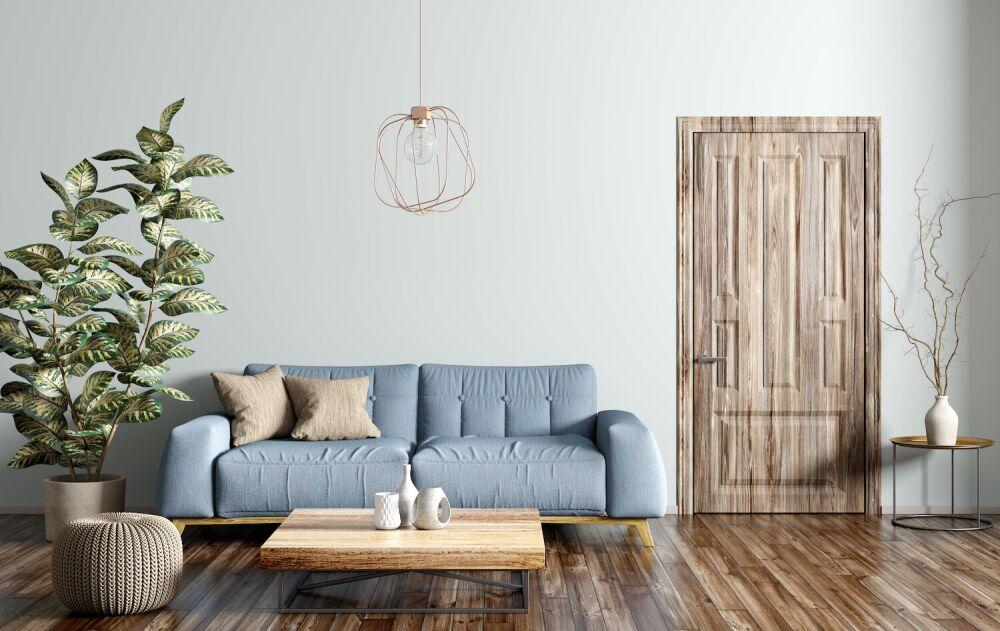 drzwi drewniane, salon