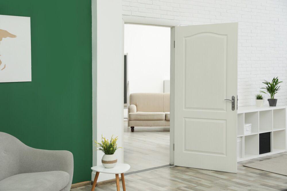 zielony salon z fotelem i białymi drzwiami