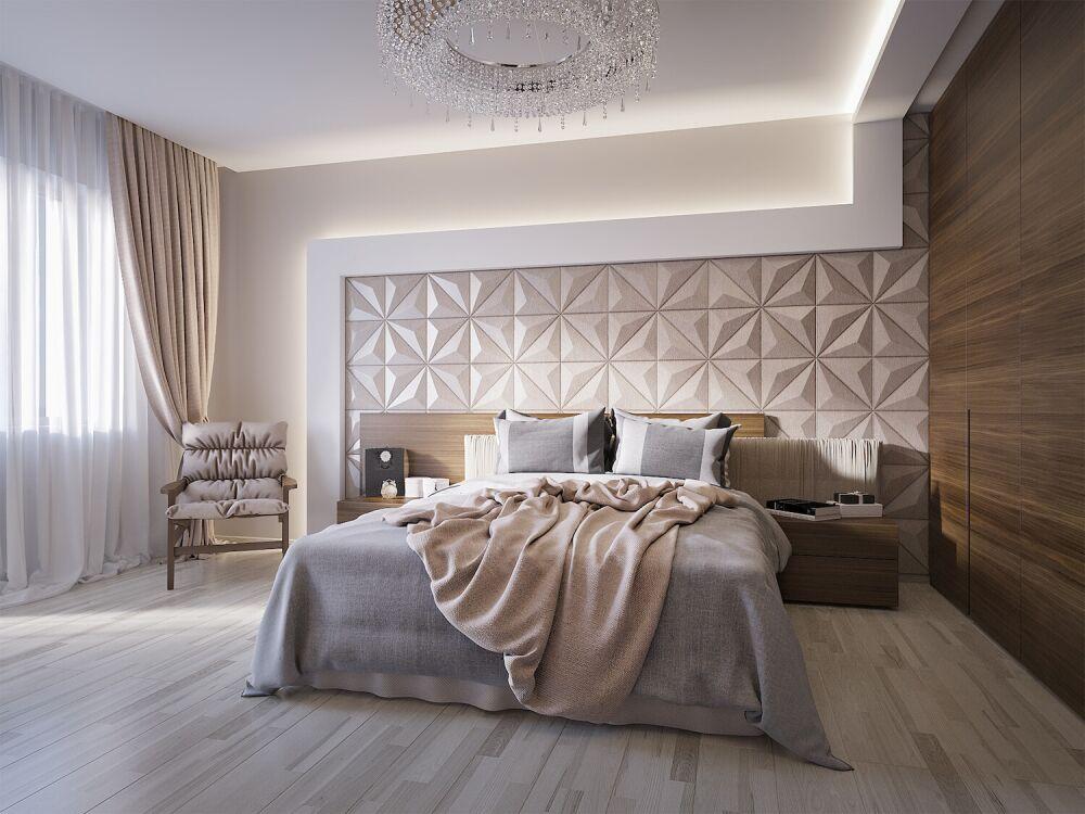 ekskluzywna sypialnia w stylu glamour, panele 3d na ścianie