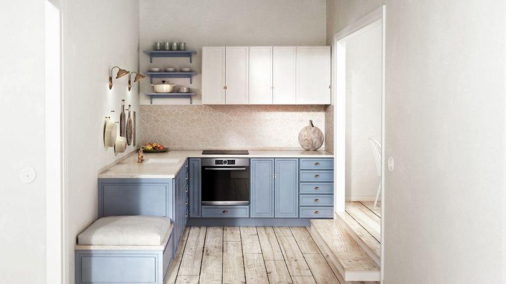 mała drewniania kuchnia z niebieskimi frontami