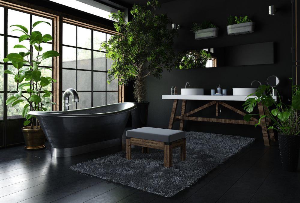 urban jungle, łazienka, duża łazienka