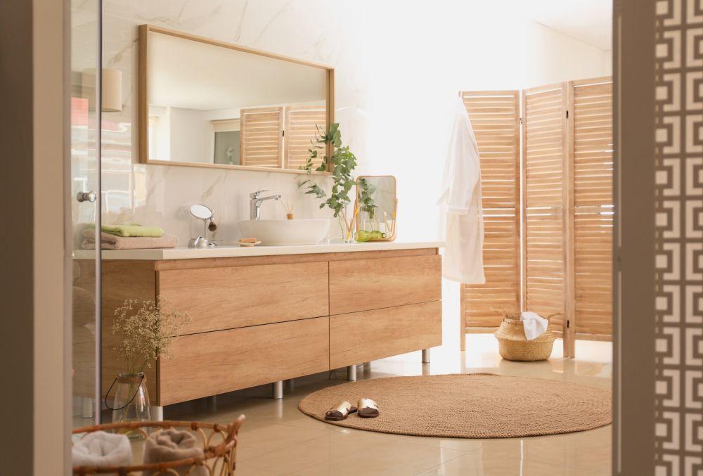 drewniana łazienka w stylu spa, duża łazienka