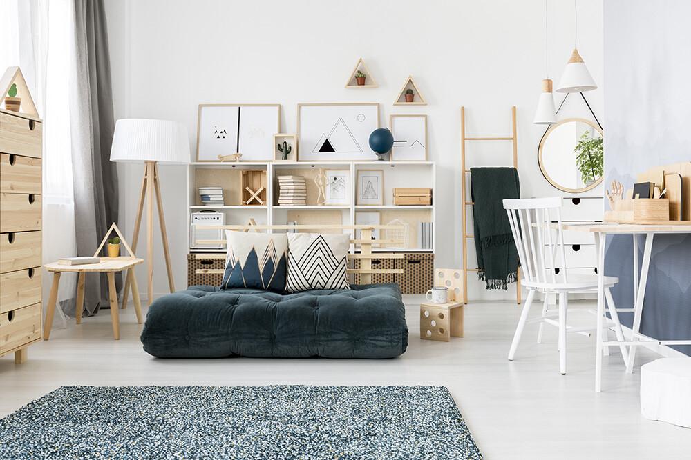 nowoczesny pokój, pokój w stylu skandynawskim, jasne wnętrze, jak ustawić meble
