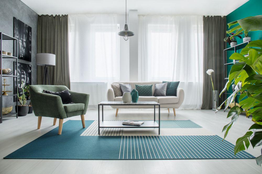 zielony salon nowoczesny