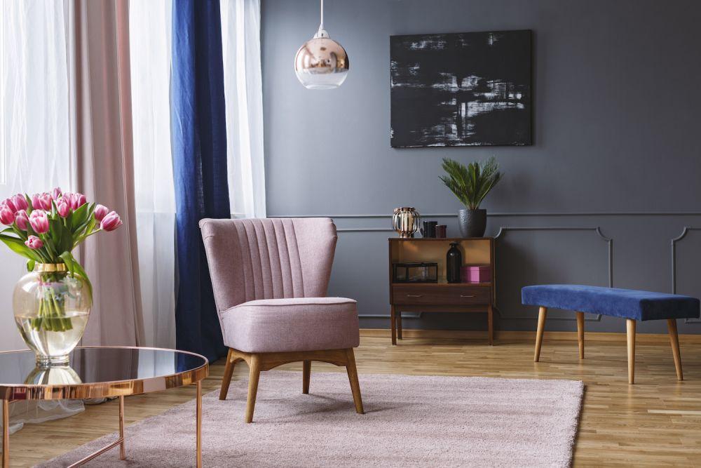 fotel, podnóżek, elegancki styl, salon
