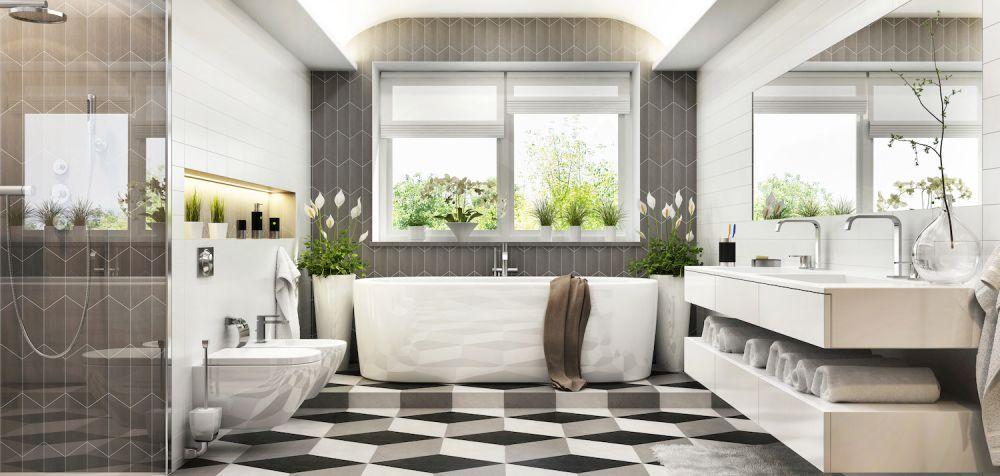 ekskluzywna łazienka z kwiatami