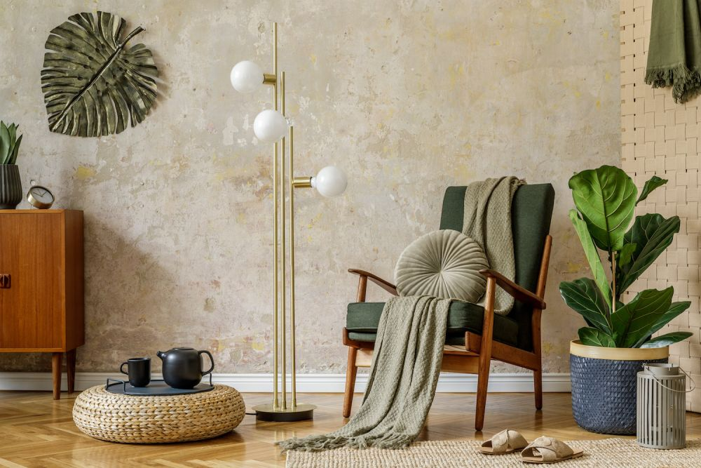 stylowe wnętrze w stylu wabi sabi