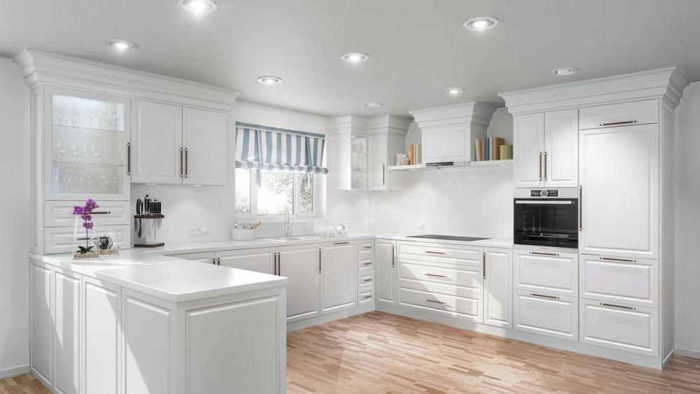 biała, duża kuchnia z oknem