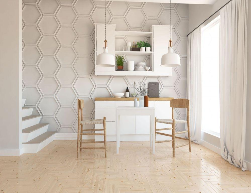 otwarta przestrzeń,styl skandynawski, drewniane krzesła