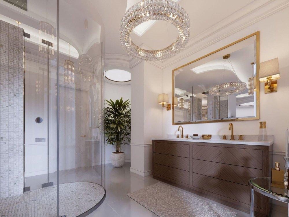 Kabina prysznicowa w łazience z abażurem