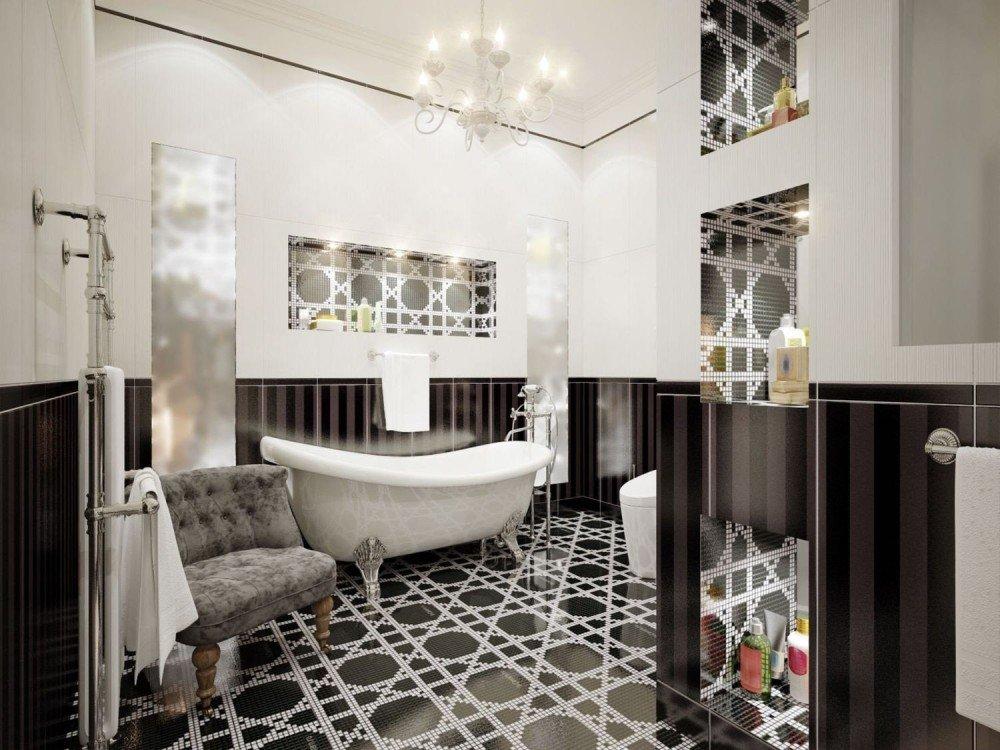 biało-czarna łazienka w stylu glamour z wanną, fotelem, grzejnikiem i półkami