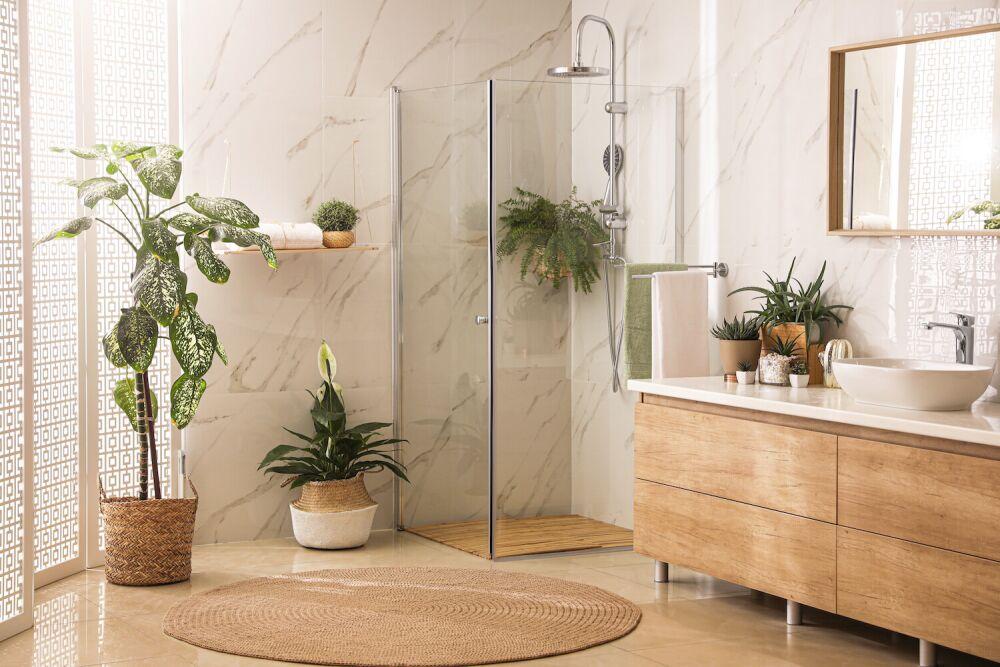 łazienka w stylu japońskim, łazienka z kwiatami, minimalizm w łazience