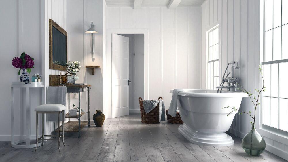 łazienka w stylu rustykalnym, jasna łazienka w drewnie