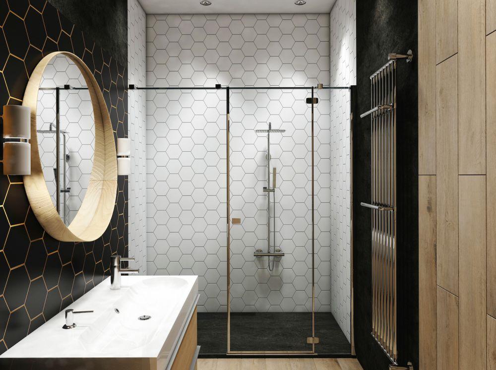 łazienka glamour z przeszkloną kabiną i złotymi dodatkami