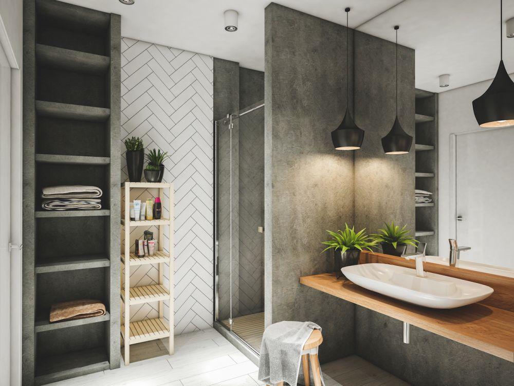 zabudowany prysznic w łazience w stylu eko