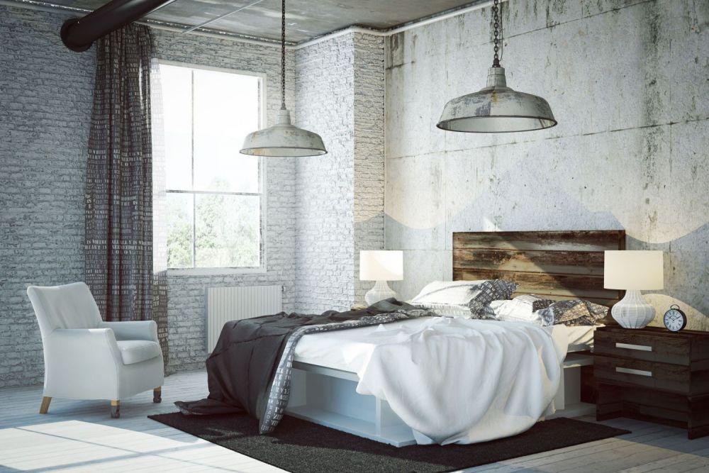 loft, sypialnia w stylu industrialnym