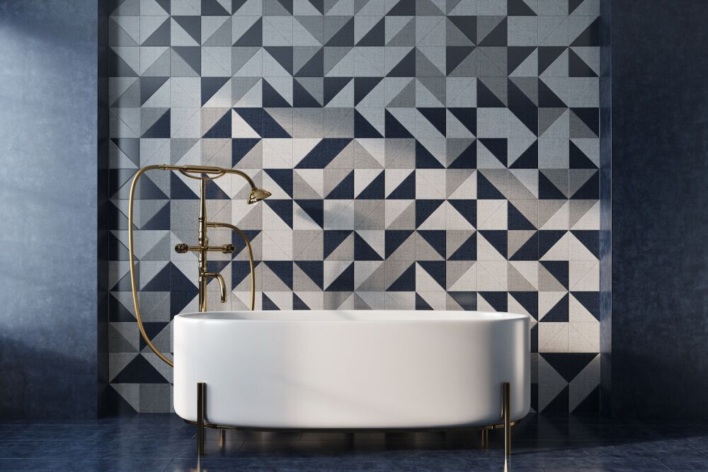 mozaika na ścianie w łazience, luksusowa łazienka, elegancka łazienka, stylowa ciemna łazienka