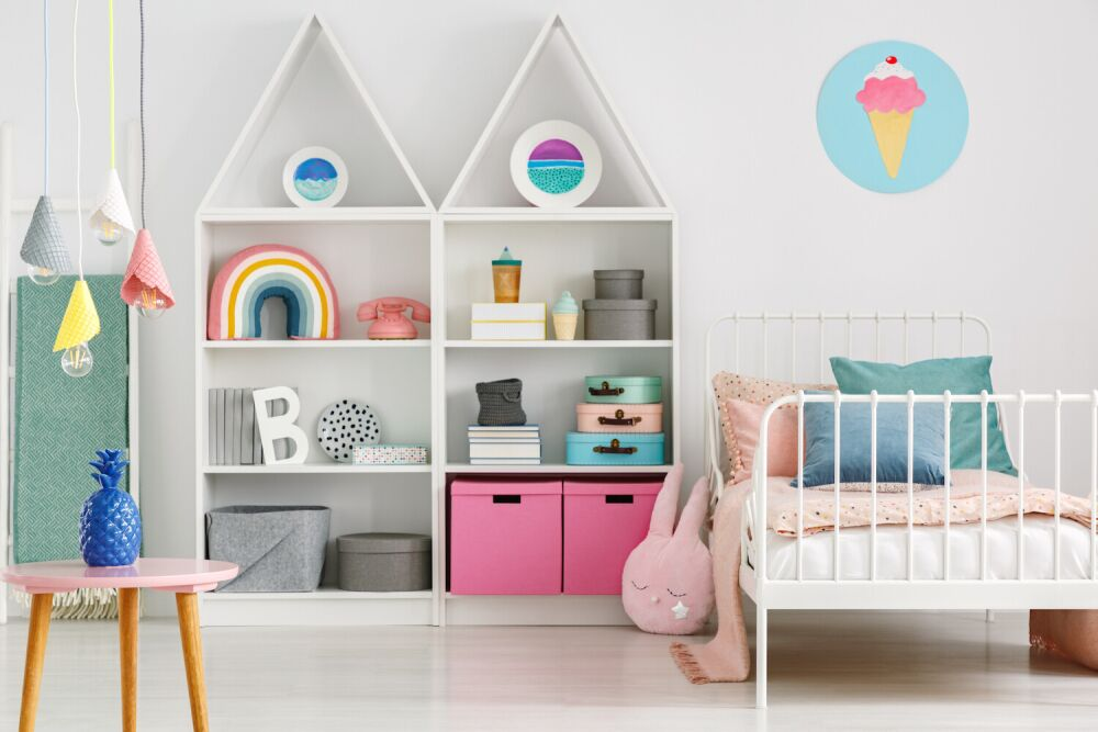 pólka dla dzieci, półka w kształcie domku, półka do pokoju dziecięcego