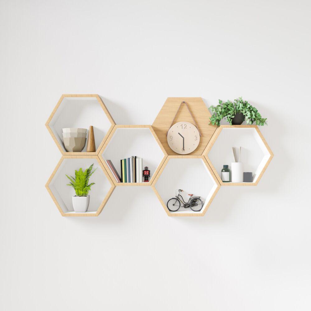 półki heksagonalne, półki ścienne, oryginalna półka ścienna