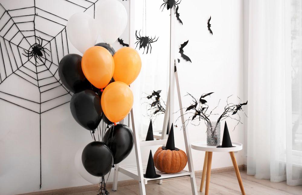 dekoracje na halloween, balony, nietoperze