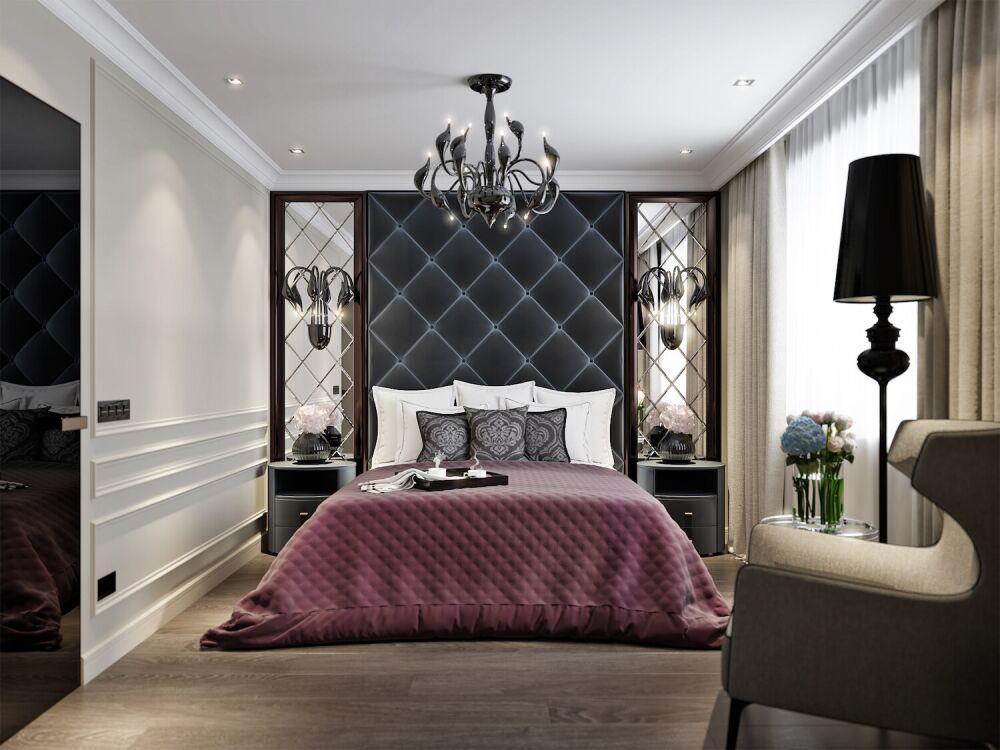 sypialnia glamour, panele ścienne tapicerowane