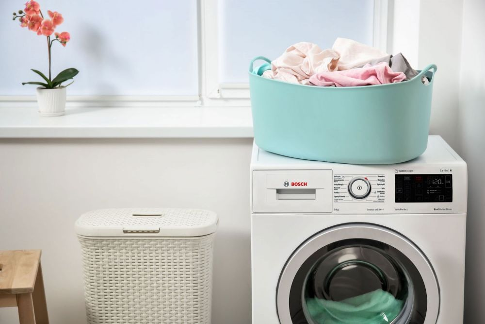 pralka, kosz na pranie, pranie