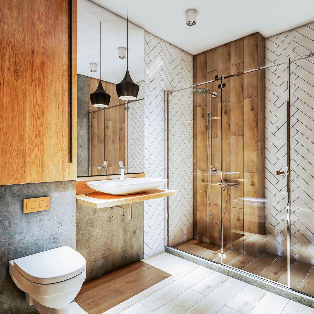 łazienka z drewnem i szklanym prysznicem