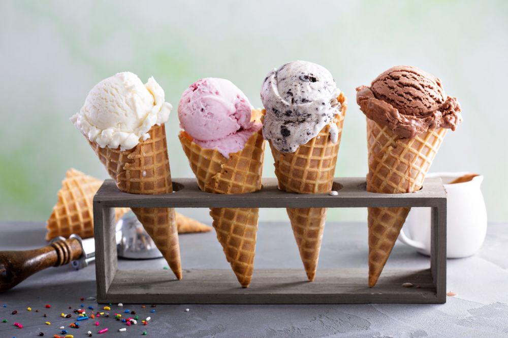 lody, lody owocowe, lody w rożku