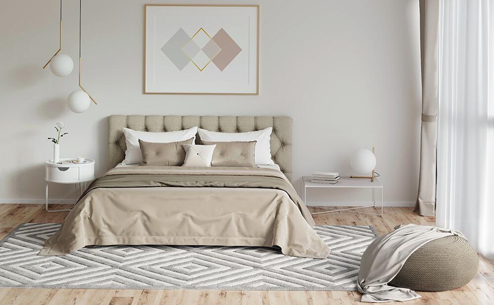 Ochrona ścian przed zabrudzeniami - tapicerowany zagłówek w sypialni