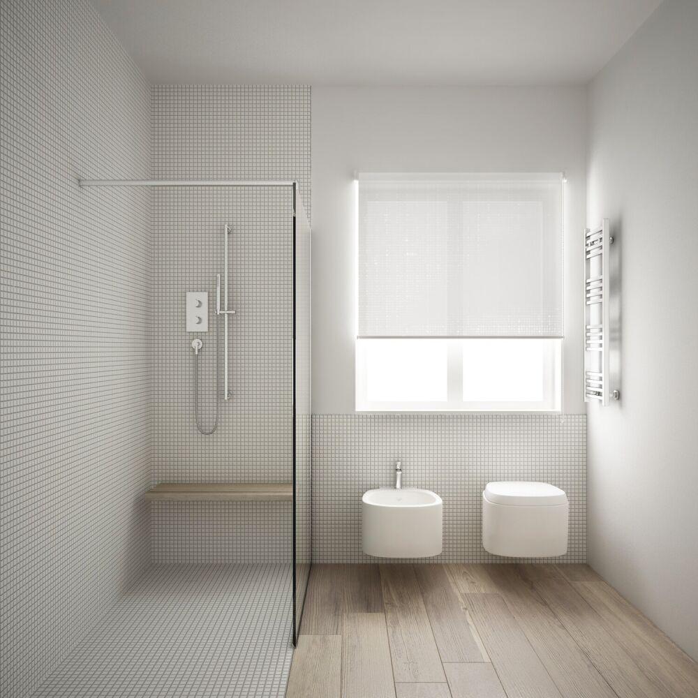 biała, mała łazienka z prysznicem