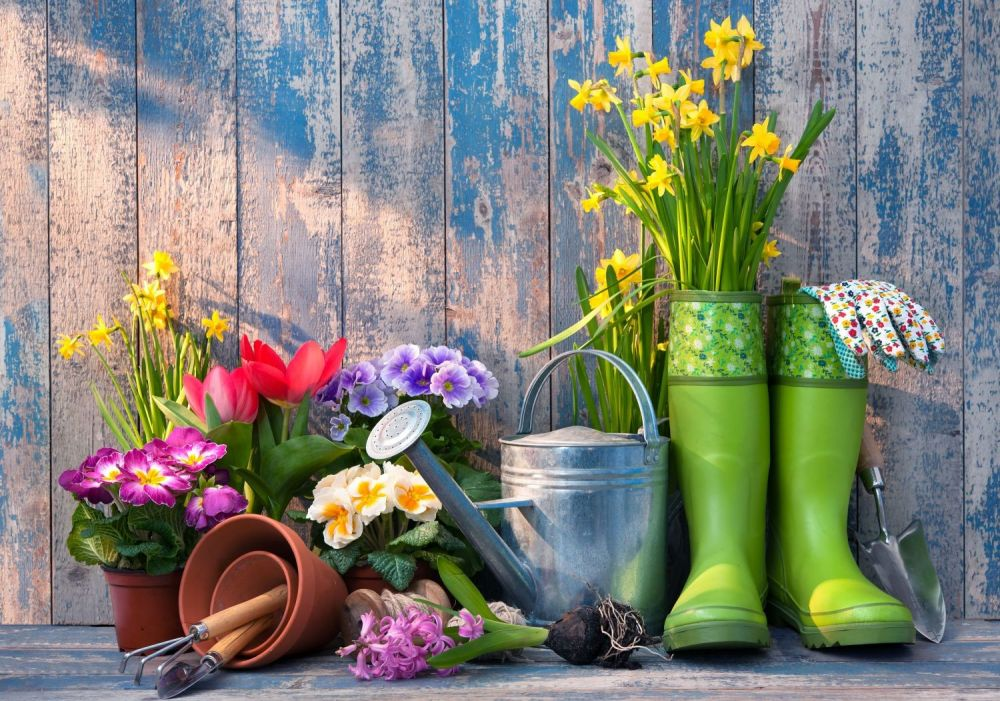 kalosze,konewka,wiaty, wiosna,wiosna w ogrodzie, wiosenne porządki