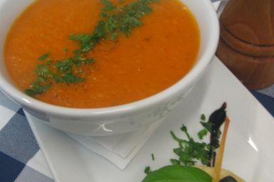Zupa krem z pomidorów malinowych