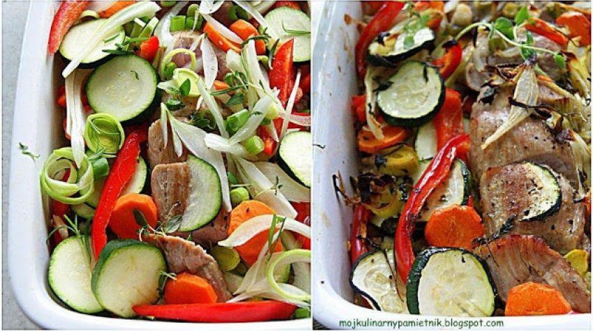 Zapiekanka z polędwiczki, warzyw i kaszy perłowej