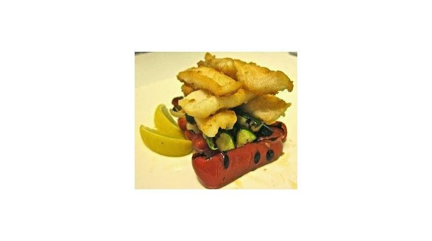 Kalmary z grillowanymi warzywami