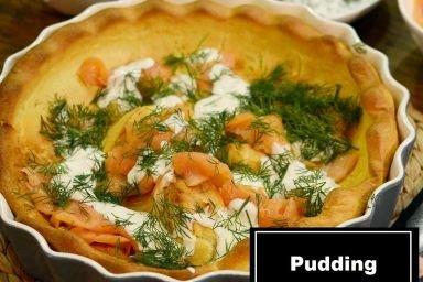 Pudding yorkshire z wędzonym łososiem
