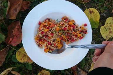 Sałatka z kaszy pęczak, dyni i pieczonej papryki