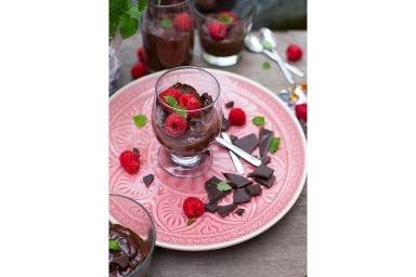 Hardcorowy fit deser - mus czekoladowy z malinami