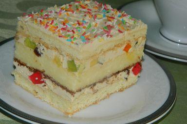Ciasto z wkładką serową i masą jajeczną
