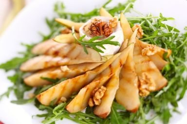 Gruszki grillowane z serem pleśniowym i pesto z rukwi wodnej