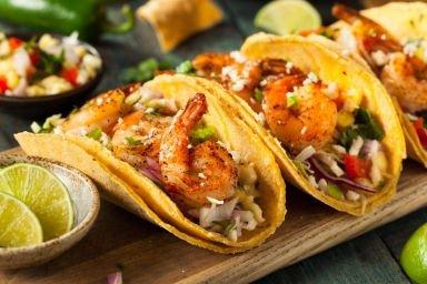 Tacos z wołowiną i krewetkami