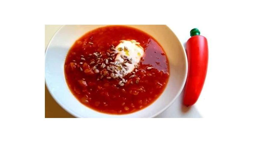 Krem z pomidorów z soczewicą