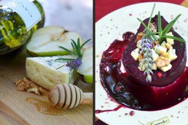 Gruszka w czerwonym winie z rozmarynem z orzechami włoskimi i  serem pleśniowym